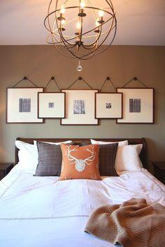 Идеи оформления изголовья кровати фотографиями и картинами.
