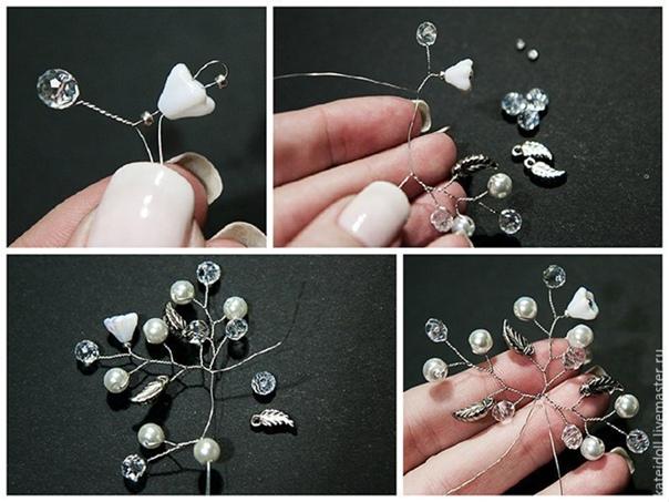 Создаем нежные шпильки для свадебной прически