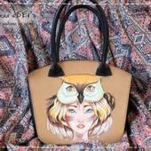 Женская сумка «ДЕВУШКА-СОВА». Ручная роспись
