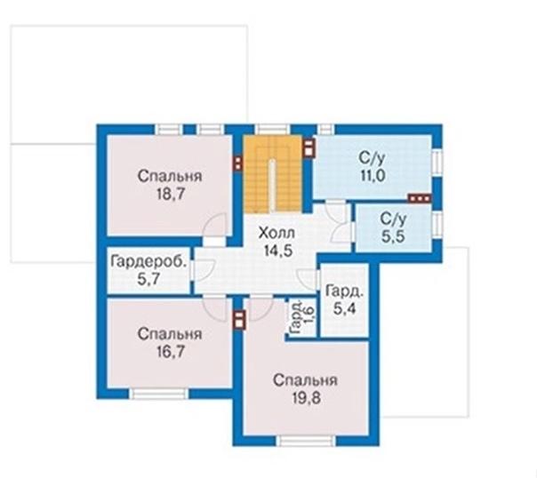 Проект дома с двумя террасами 210 кв. м.