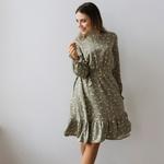 Платье с рюшей по юбке и рукавам