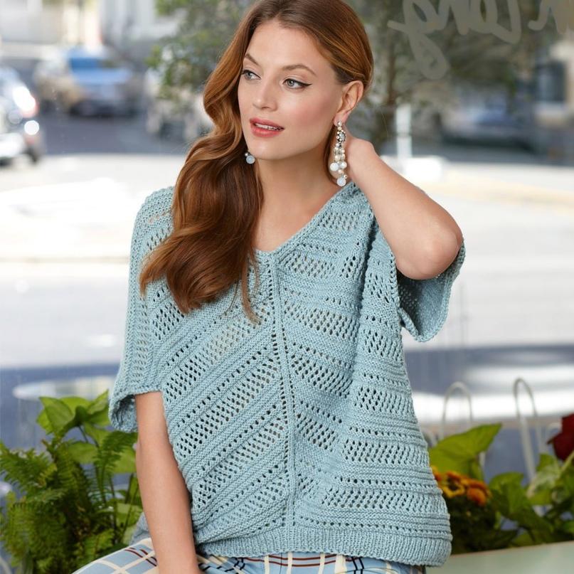 Пуловер с диагональным сетчатым узором