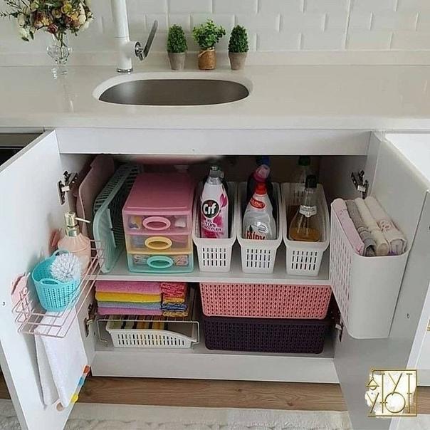 Отличные идеи организации пространства под раковиной ????????