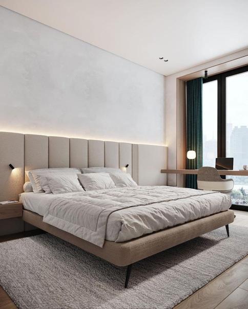 Спальня с панорамным остеклением для любителей минимализма  Дизайн спальни...