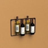 Настенный держатель для 4 винных бутылок прямой, из