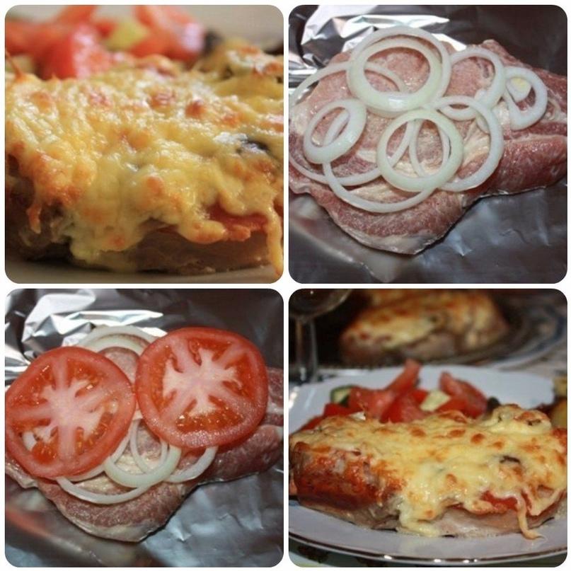 Мясо в фoльге c гpибами и помидорами