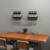 Полка для вина на 5 винных бутылок с бокалами