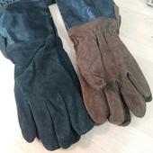 Перчатки кожаные с крагами