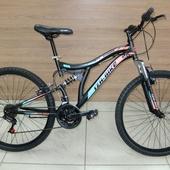 """Велосипед Иж-Байк STINGER (2021) 26"""" Чёрный/Оранжевый/Зелёный Двухподвес"""