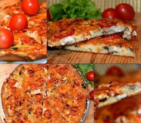 Быстрая домашняя пицца с курицей и грибами