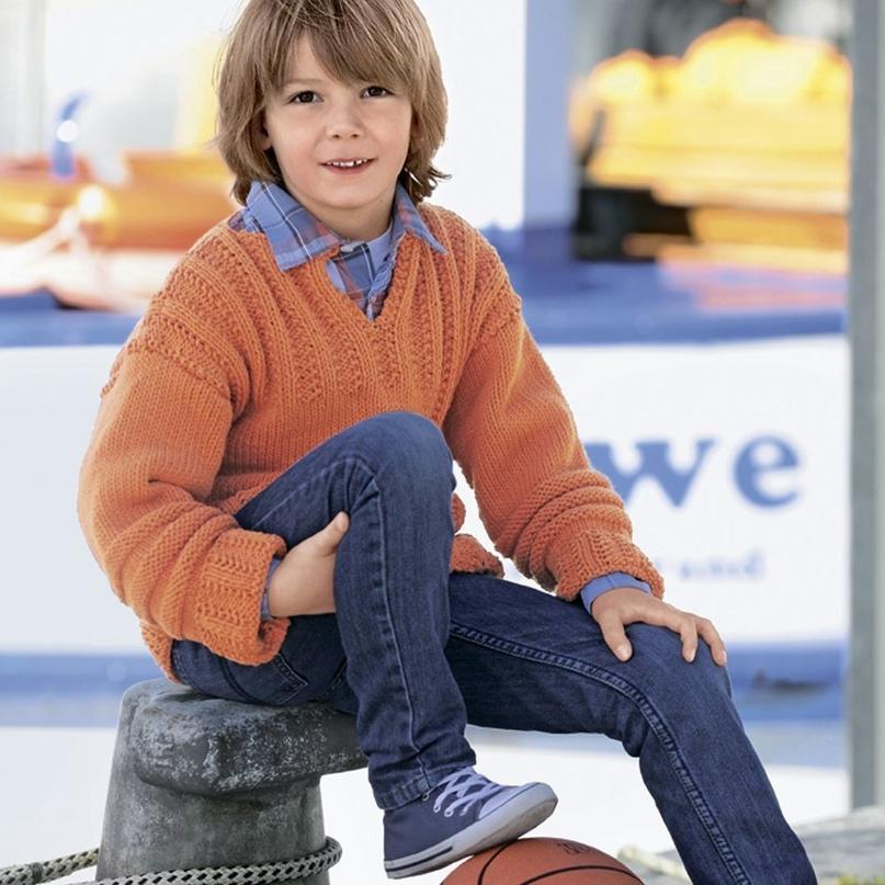Объемный пуловер в рельефную полоску