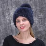 Норковая шапка с помпоном меховая вязаная громоздкая Шапочка теплая шапочка