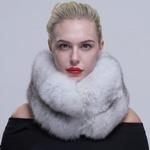 Женский вязаный подлинный Лисий мех капюшон шарф