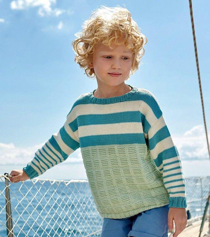 Детский джемпер с полосками. Описание вязания
