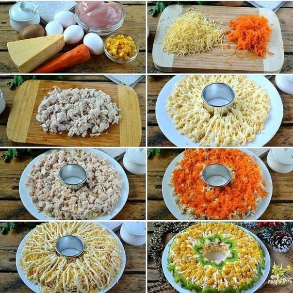 Салат с курочкой. ⠀ Ингредиенты: ⠀ Куриная грудка — 300 г Сыр твердый — 150 г Яйца куриные — 4 шт. Морковь — 1 шт. Киви — 1 шт. Кукуруза консервированная — 100 г Майонез — 3 ст. л. ⠀ Приготовление:  1. Морковь и куриную грудку отварите до г...