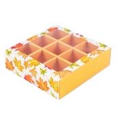 """Коробка для 9 конфет с разделителями """"Кленовый лист"""""""