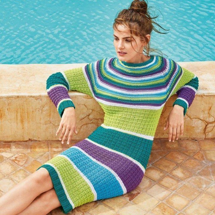 Оригинальная идея для платья. Описание вязания