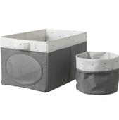 Коробка и корзина, серый, 25x37x22 см