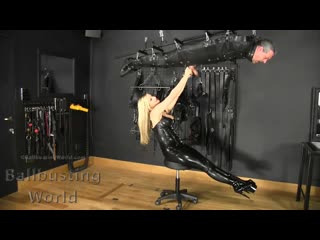 Nikki Whiplash - Sadistic Suspended Ballbusting [Femdom, Humiliation, BDSM Ballbusting Squeezing Kicking Punching Dungeon Latex]